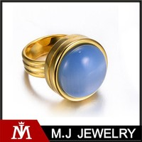 Stainless Steel Round Shape Large Stone Opal Gem Ring for Women