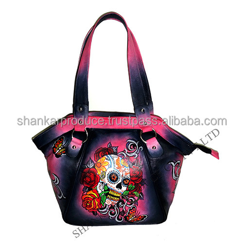 Leather Hand Painted Hand Bag