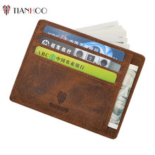 Retro Leather Minimalist Money Clip Credit Card Holder Slim Front Pocket Wallet for Men and Women
