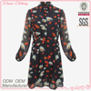 New and Fashion Designed Ladies Long Sleeve Shirt Style Dress with Flower Prints