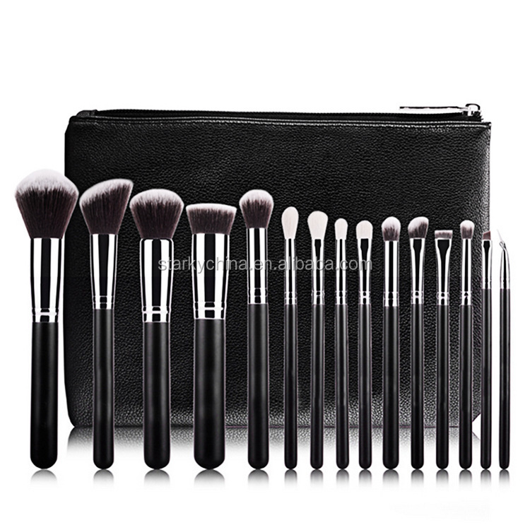 high quality makeup cosmetic brush tools 15 pcs black synthetic brush set with pu case