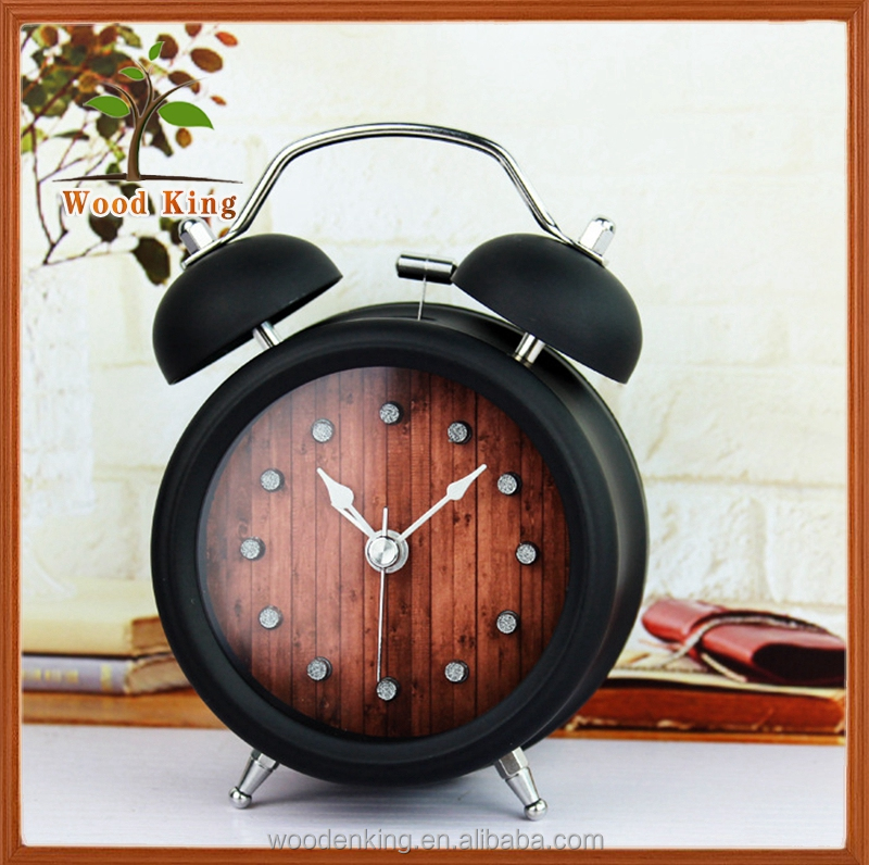 Retro Nostalgia Wood Color Metal Rivet <strong>Point</strong> Ringing The Bell Creative European Desktop Wooden Digital Led Alarm Clock