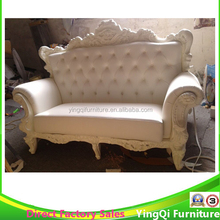 Hotsale Wedding Luxury White Leather Sofa French Classic Style