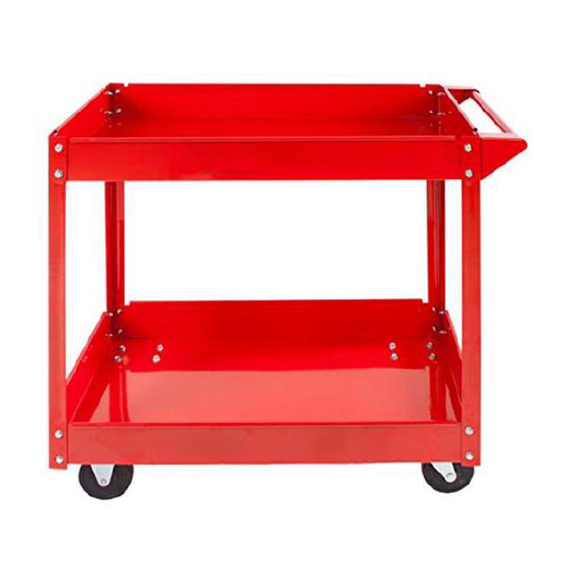 2 Layers Red Power coating Garage tool hand Trolley servingcart with plastic storage boxes