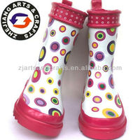Lovely rainbow circle design white and half rubber rain boots for kids