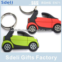 Factory OEM custom 3D injection car soft pvc rubber keyring