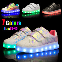 Children led light shoes leather waterproof light shoes Glowing Kids sneaker kids led shoes
