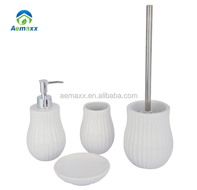 4 piece striation grain surface liquid soap lotion pump soap dispenser white ceramic seashell bathroom accessories for hotel