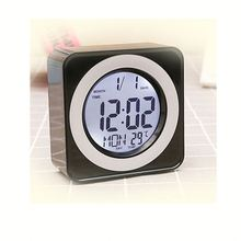 Cube Bedside Table LCD Alarm Snooze Clock Wake Up Light Blue LED Backlight Calendar