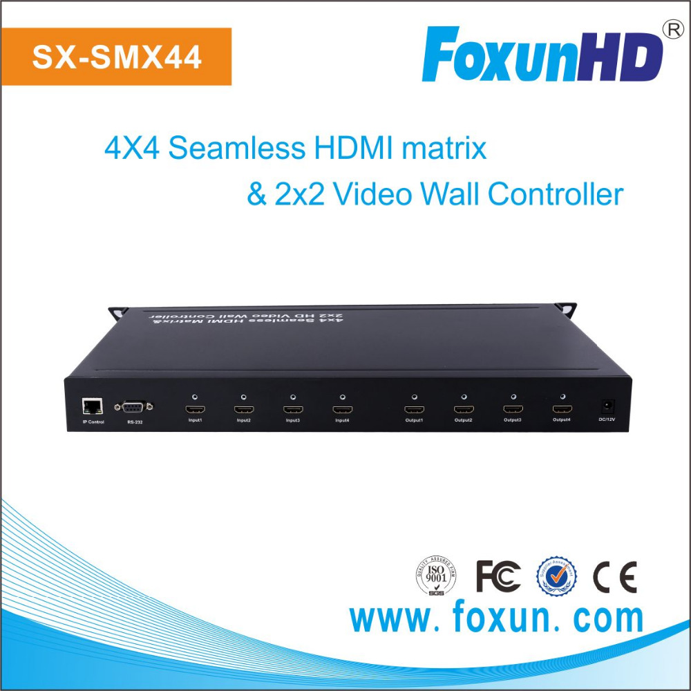 Foxun SX-SMX44 Seamless Switch LED Video Wall controller and 4x4 Seamless HDMI Matrix Switch