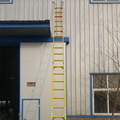 telescopic fiber glass extension ladder yellow/red colour
