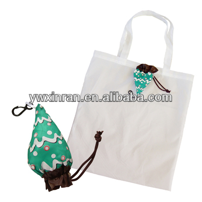 2014 X-mas ice cream shape polyester foldable bag