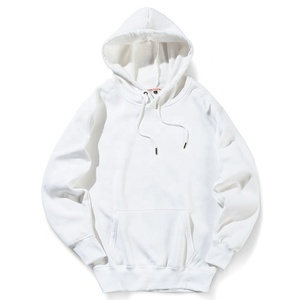 Wholesale Plain White Kangaroo Pockets Cotton Men Hooded Sweatshirts Hoodies