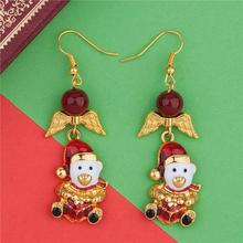 Wholesale Gold Plated White & Red Christmas Hats Bear Wing Enamel Earrings