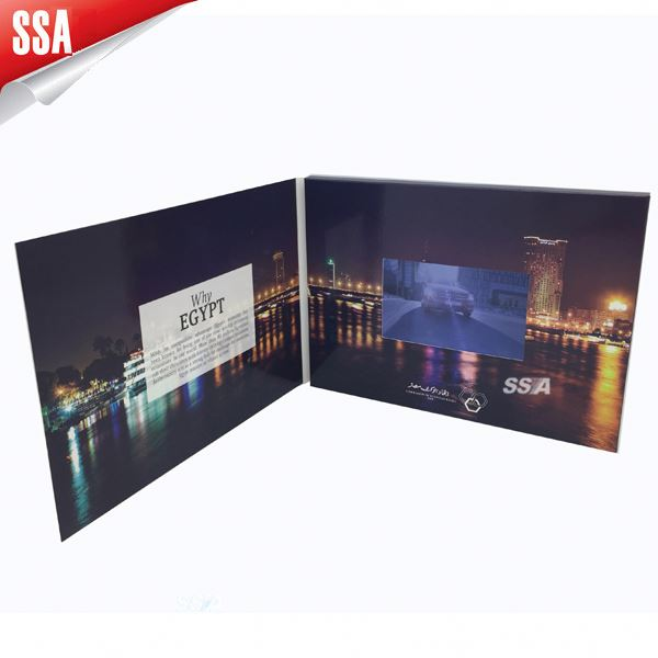 7 inch LCD video screen greeting card, lcd video brochure card for eyewear/glass industry