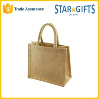 Wholesale Cheap Small Hessian Jute Gift Bag With Short Cotton Cord Handles