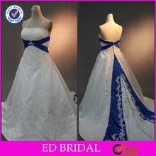 2015 Real Sample Ball Gown Strapless Beaded Embroidered Royal Blue and White Wedding Dresses