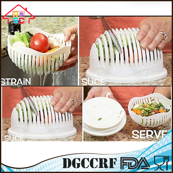 Salad Cutter Bowl 3 In 1 Salad Maker Chopper For Kitchen Vegetable Slicer With Stainer
