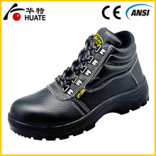 Black genuine leather protective steel toe cap Safety Shoes