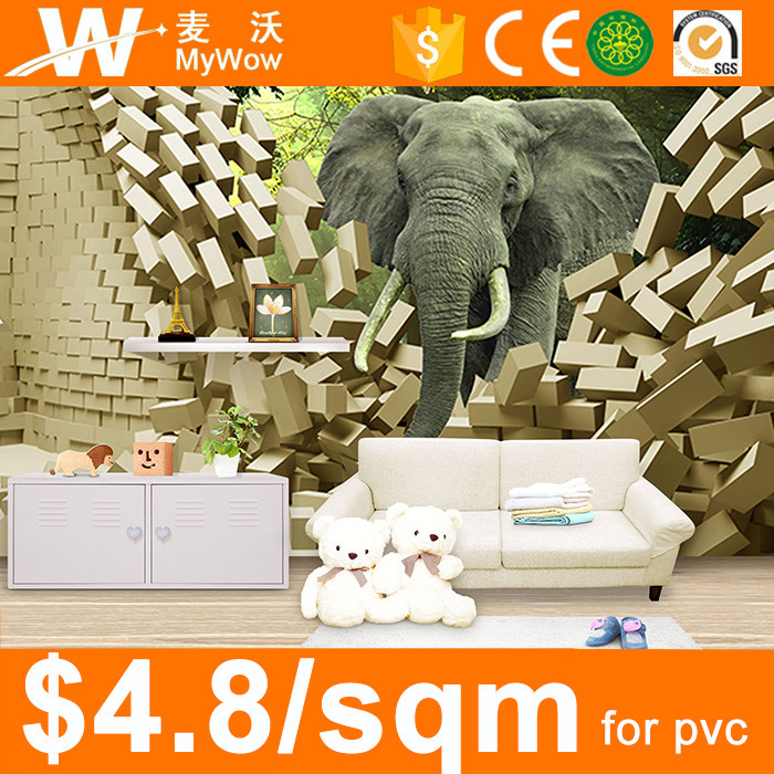 [SW-3056] 3D Effect Elephant Design Cartoon Animation Wall Mural for Kids