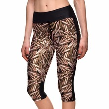 Wholesale Polyester Spandex Young Girls Digital Printing Bullet Sexy Workout Pants with Side Pocket Leggings