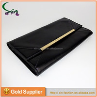 Fashionable pu leather elegant black ladies evening party clutch hand bag