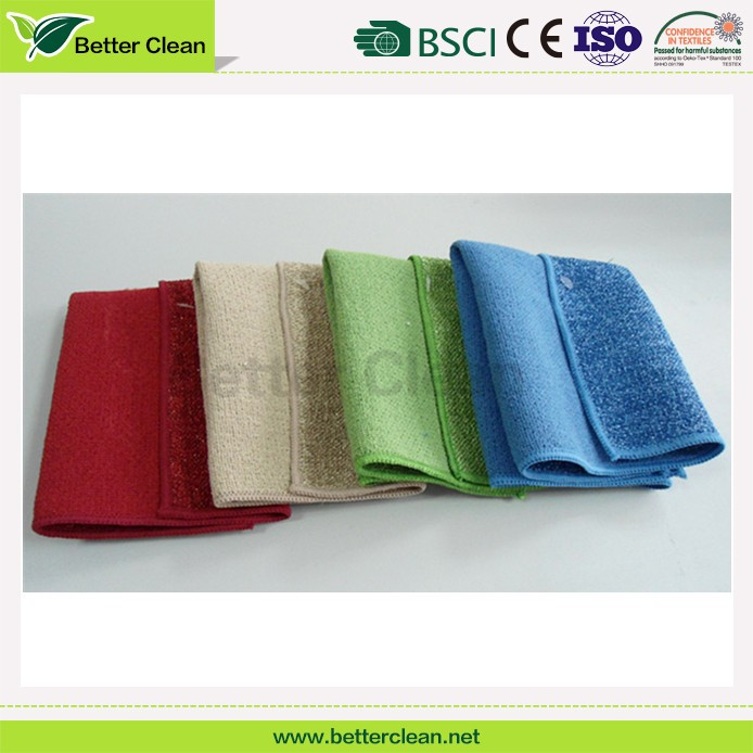 100% polyester scrubber dish washing cloth microfiber kitchen towel