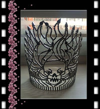 "women fashion tops adult crowns and tiaras 8"" tall black skull queen crown for pageant"