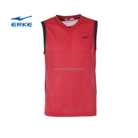 ERKE mens sleeveless 100%polyester breathable mesh basketball jersey brand basketball top suit uniform plain in stock