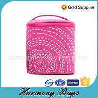 Pink 600D polyester girls handle custom printed pouches