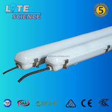 125lm/w IP65 IK10 led water proof light fixture, PC Base+PC Cover+ SS Clips led tri-proof light