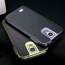 cell phone case for samsung galaxy s4 aluminum bumper cover for i9500 shiny leather case for samsung galaxy s4 19500