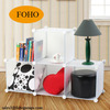 4 Cubes Modern Portable Easy Install Small Plastic Shelf with Optional Cubes