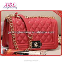 XBL COCO Fashion Lattice Design with Metal Chain leather Clutch bag