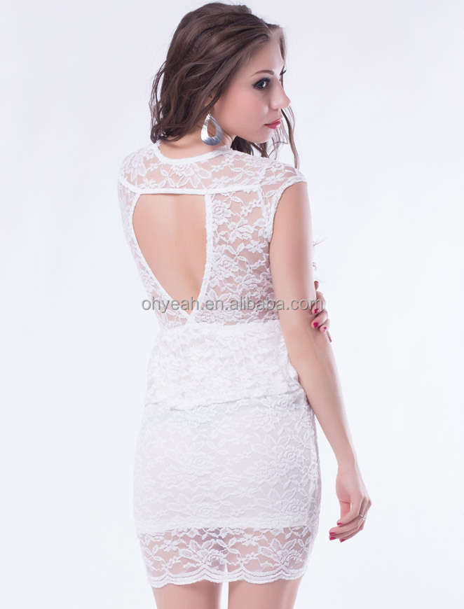 Hot selling elegant white evening hollow out lace dress