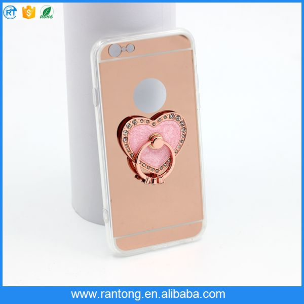 attractive style mirror TPU phone case for iphone 6 with ring stander