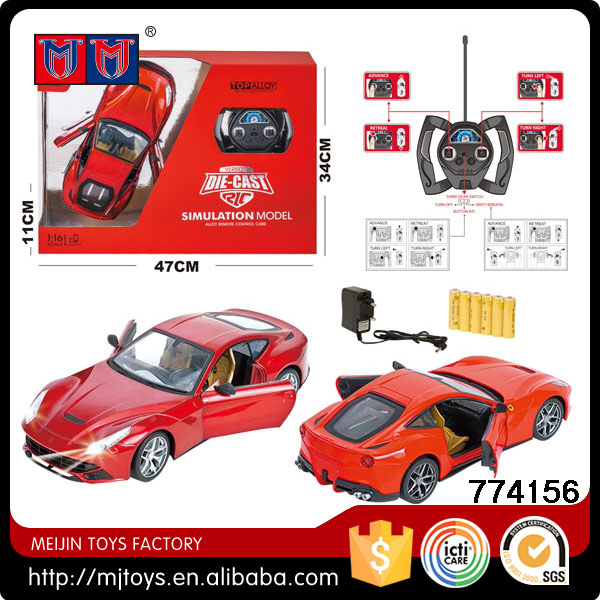 2.4GHz 1:16 die-cast alloy rc sport car simulation model with light and open door function (gift box package)