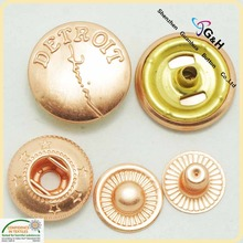 4 Part Brass Metal Button Spring Snap Button Snap Fasteners For Jackets
