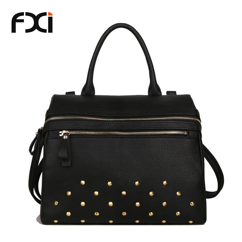 fashion women handbags vintage rivet shoulder tote bag black ladies shopper bag 2015 bolsos carteras mujer bolsa de praia borse