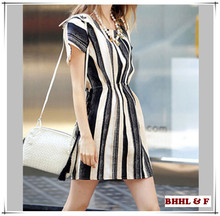 OEM New fashion lady dress black and white strape adult lady girls party dress