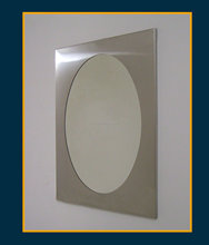 Bathroom mirror with stainless steel frame