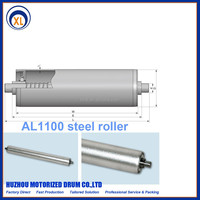 Non-driven galvanized steel roller,Spring loaded female thread flat milling idler,little middle cylinder drum
