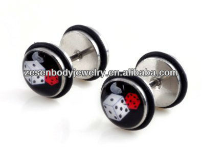 Enamel dice Fake Steel Ear Stretcher Cheater Flesh Plug Tunnel Earrings body jewelry