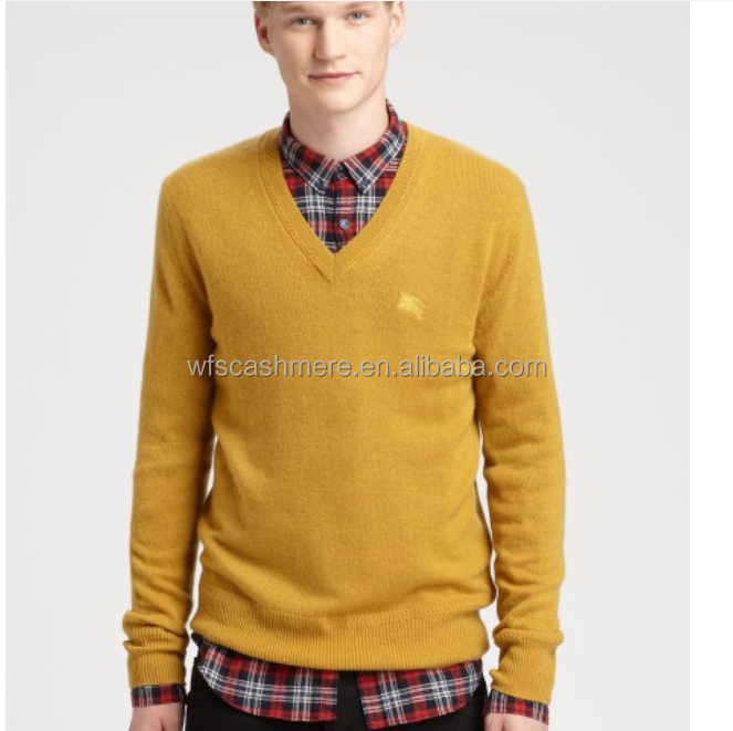 Highest Standard V-neck Yellow Cashmere Sweater Boy - Buy Yellow ...