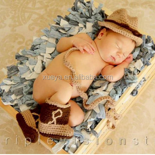 Four colors new cowboy stylish newborn infant knitting clothes for photo props
