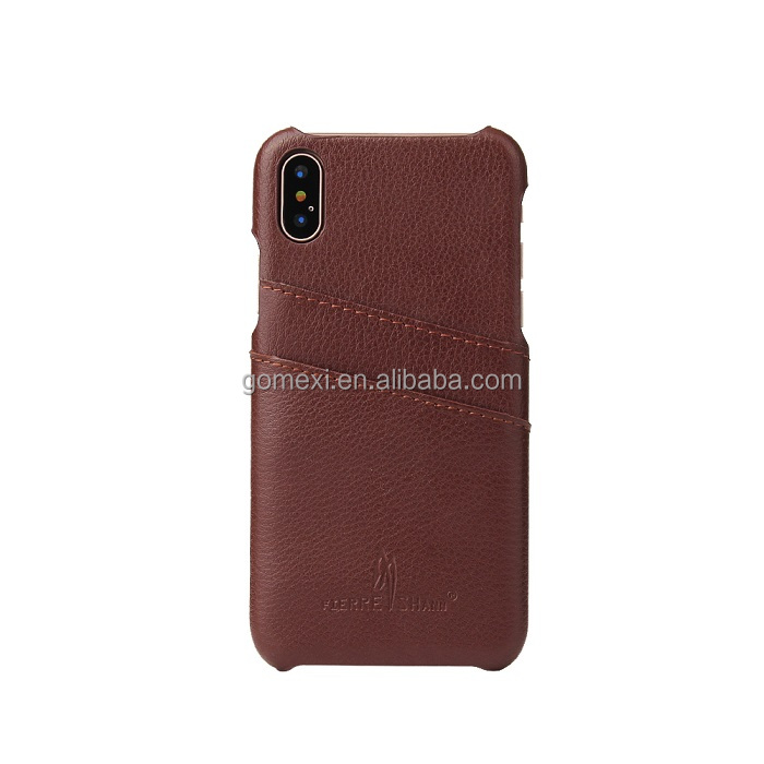 Business High-end Litchi Cover Genuine Credit Card Slot Leather Back Case For iPhone X Shockproof Cases