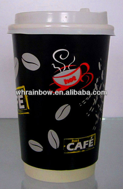 disposable hot coffee paper cup with cover