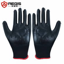 Black nitrile safty gloves anti chemical resistant can printed with logo