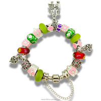 European style silver chain glass beaded charm bracelets and bangles for women jewelry