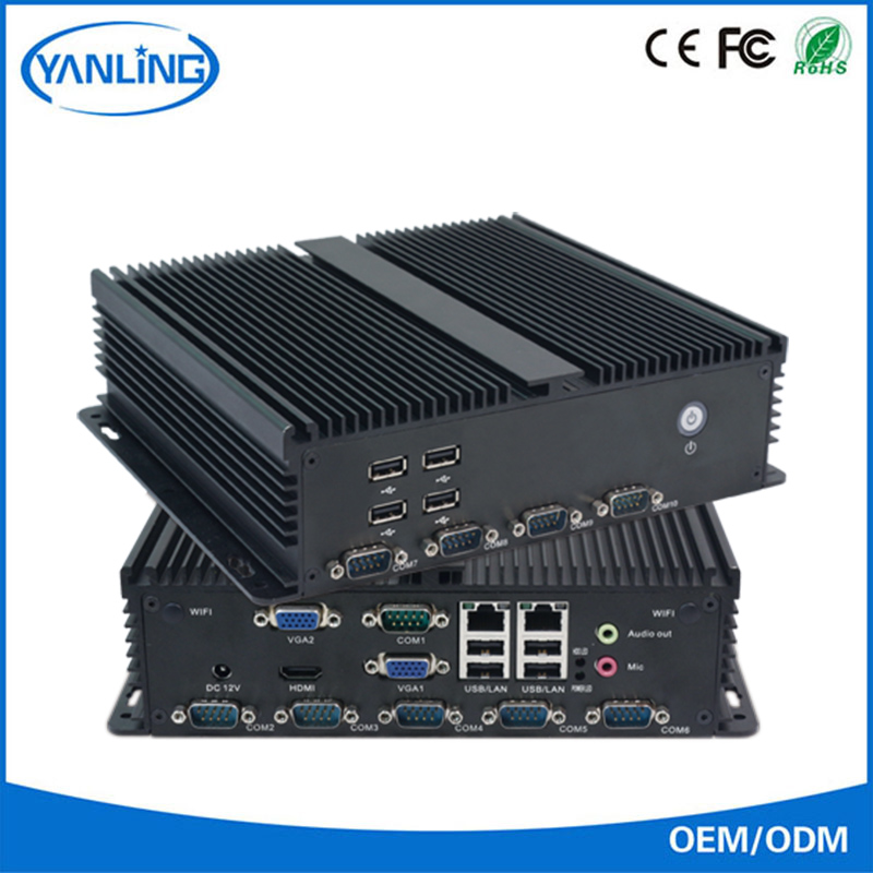 cheap china industrial machine intel 1037U cpu 2gb ddr3 ram and 2.5'' HDD fanless embedded box pc with dual vga port